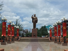 A massive bronze statue of Ho Chi Minh; Can Tho waterfront