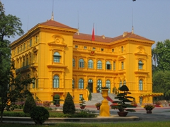 Its impossible for this bright yellow government building in Hanoi to blend in with its surroundings