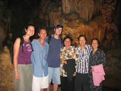 Becky, Cau Chin, Robby, Di Tam, Ann and Di Sau at Phong Nha Cave