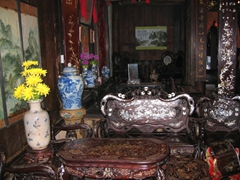 Antique mother of pearl furniture on display at Tan Ky, an 18th Century merchant house in Hoi An