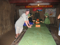 Robby checking out a bunker in the Cu Chi tunnels, which are a tight squeeze for Westerners in some locations!