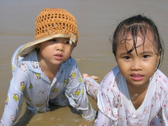Becky's nieces enjoying Vung Tau Beach