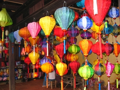Colorful silk lanterns for sale; Hoi An