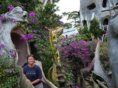 "Becky poses at Dalat's ""Crazy House"", an eclectic and unique guesthouse"