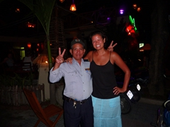 Friendly security guard and Becky after partying in Nha Trang