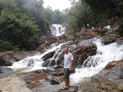 Robby posing beside the touristy Datanla Falls; Dalat