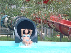 Becky enjoying the water rides at Nha Trang's VinPearl Theme Park