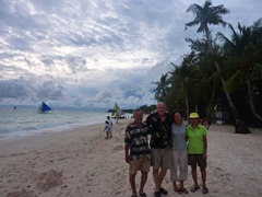 Cau Nam, Bob, Ann and Ji Sung admire Boracay's pretty White Beach