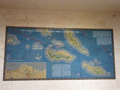 A mosaic wall map of Guadalcanal; Manila American Cemetery and Memorial