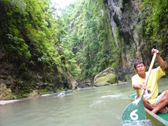 Our hard working bankero (boatman) paddling us to Pagsanjan Falls