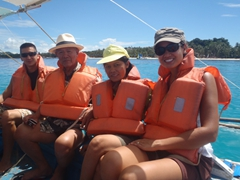 Luke, Cau Nam, Ji Sung and Becky all aboard our bangka (outrigger) boat for a day of snorkeling
