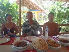 Ann, Cau Nam and Luke about to devour lunch; Puka Beach