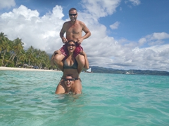 Luke, Becky and Robby goofing around in Boracay