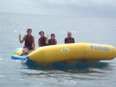 Becky, Ann, Ji Sung and Cau Nam take a ride on the Flyfish; Bulabog Beach