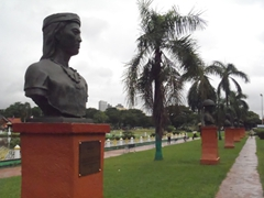 Busts of warrior chieftains who ruled territories in the Philippines (most notably is Lapu-Lapu who killed Magellan); Rizal Park