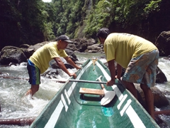 Our bankeros work as a team to get us upriver; Pagsanjan Falls