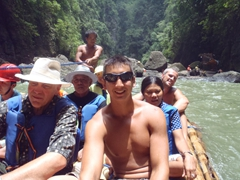 Anticipation builds on the bamboo raft as we are about to go under the 300 foot Pagsanjan Falls