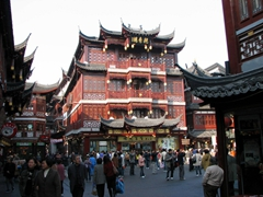"Our first view of the Yu Gardens Bazaar's reconstructed ""old style"" buildings"