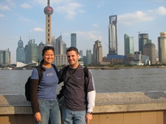 "Posing on the Bund; one of Shanghai's most popular sights. Behind us is the Pudong New Area District, where the movie ""Mission Impossible III"" was filmed"