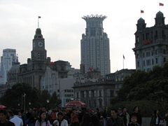 View of the Bund's eclectic architecture in the mid afternoon light