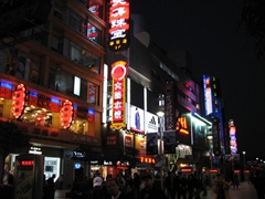 The neon lights come out in full force once night falls on Nanjing Lu