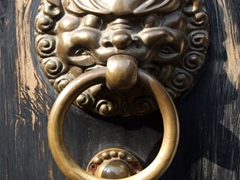 Detail of a door knocker; Yu Gardens Bazaar