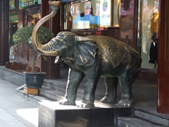 A lucky elephant statue perhaps? Notice the well rubbed spots all over its body and trunk