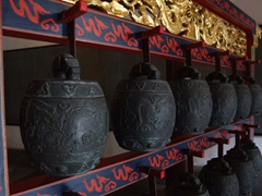Detail of antique bells in one corner of the Confucius temple (the other corner held massive drums)