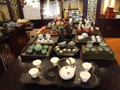 Tea sets for sale at a tea house located at the North West area of the Bund