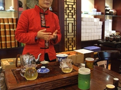 Our tea hostess during a tea tasting ceremony