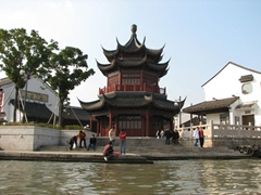 A pretty pagoda temple along Suzhou's canal
