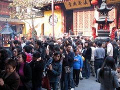 The Jade Buddha Temple complex was packed on a Saturday morning with devotees scrambling to pray and pay their respects