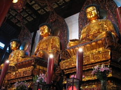 A serene feeling overtakes you inside the bustling Jade Buddha Temple