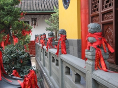 We weren't sure if the Jade Buddha temple is always abundantly decorated with red ribbons