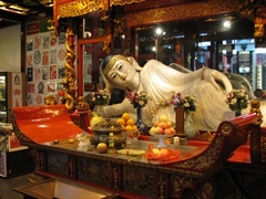 A white marble Buddha (it is forbidden to photograph the white jade Buddha)