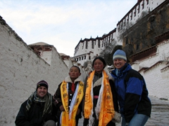 On our way up to the Potala White Palace, we stopped to take a photo with our new found friends