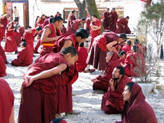 "Every afternoon at 1530, monks gather in one of the Sera Monastery's courtyards to engage in a vigorous debating session. If an incorrect answer is given, the ""teacher"" monk slaps his hands and stomps his feet while the student monk contemplates his error"
