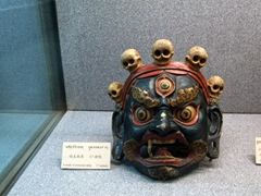 Tibetan death mask (notice the five skull ornaments?); Tibetan Museum
