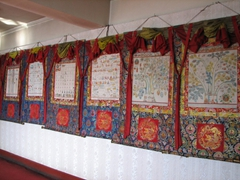 Circa 1960 medical thangkas line the wall at the Tibetan Traditional Medicine hospital