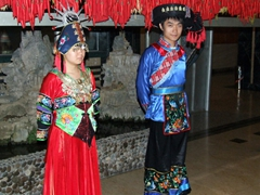 Colorful minority costumes; Li Jiang Theater