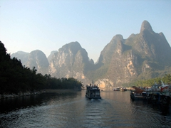 Early morning view of the Li River as seen from the top deck of our vessel