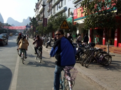 Becky smiles as she joins fellow Yangshuo residents on the most popular mode of commute