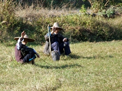 The frenetic pace of Yangshuo is a memory behind us as friendly farmers in the countryside greet us as we ride on by
