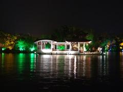 Colored lights at nightfall; Banyan Lake