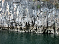 Up close view of the limestone peaks surrounding the Lijiang River