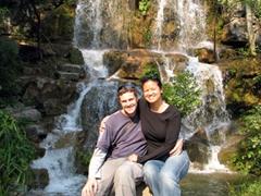 Posing beside a park waterfall; Seven Star Park