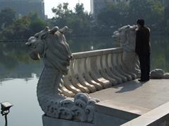 A Chinese man peers over the Dragon Bridge; Banyan Lake