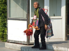 An old lady sells touristy trinkets at Seven Star Park