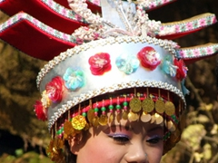 Detail of a Chinese minority's costume; Seven Star Park