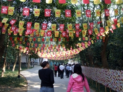 Becky and Angel walk towards the popular Panda exhibit